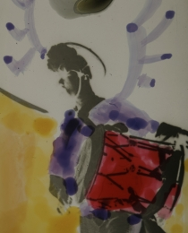 Diakarussell - Kunst aus Licht und Farbe. Scan eines colorierten Diapositivs vom Workshop.