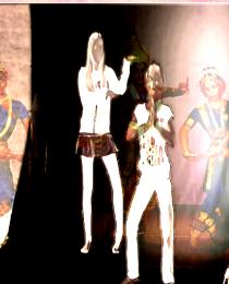 Diakarussell - Kunst aus Licht und Farbe. Video Still der Greenscreen Aktion.